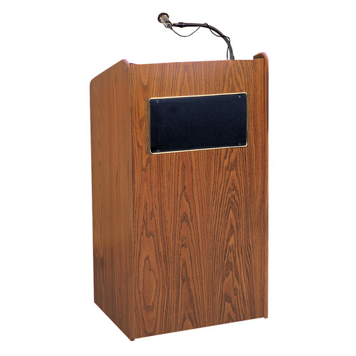 Oklahoma Sound Aristocrat Floor Lectern with Sound System and Wireless Handheld Microphone (Cherry Laminate)