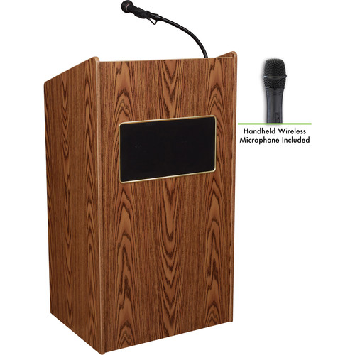 Oklahoma Sound Aristocrat Floor Lectern with Sound System and Wireless Handheld Microphone (Medium Oak Laminate)