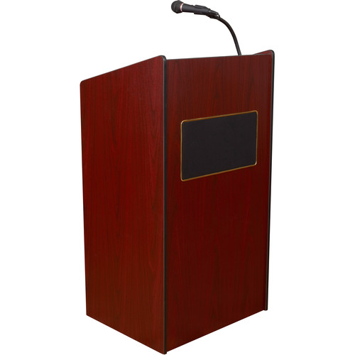 Oklahoma Sound Aristocrat Floor Lectern with Sound System and Wireless Handheld Microphone (Mahogany Laminate)