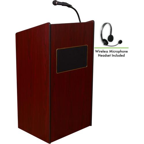 Oklahoma Sound 6010 Aristocrat Floor Lectern with LWM-7 Headset Wireless Microphone (Mahogany)
