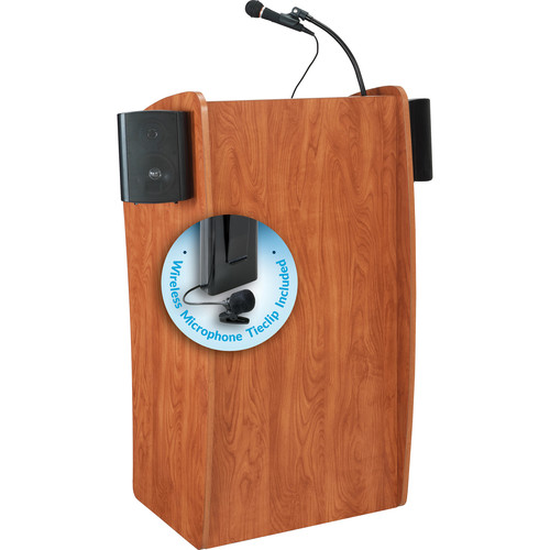 Oklahoma Sound 611-S The Vision Lectern with LMW-6 Tie Clip Lavalier Wireless Microphone