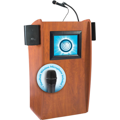 Oklahoma Sound 612-S Vision Floor Lectern with LCD Display, Speakers, and LWM-5 Handheld Wireless Microphone (Wild Cherry)