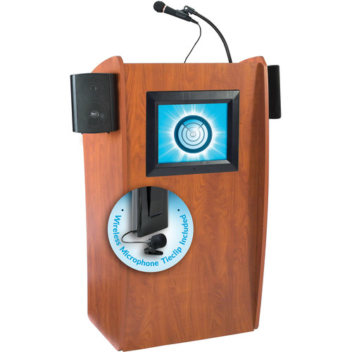 Oklahoma Sound 612-S Vision Floor Lectern with LCD Display, Speakers, and LWM-6 Tie-Clip Lavalier Wireless Microphone (Wild Cherry)