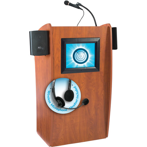 Oklahoma Sound 612-S Vision Floor Lectern with LCD Display, Speakers, and LWM-7 Headset Wireless Microphone (Wild Cherry)