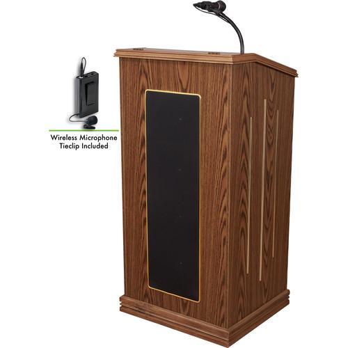 Oklahoma Sound 711-MO/LWM-6 Prestige Sound Lectern with LWM-6 Wireless Lavalier Microphone (Medium Oak)