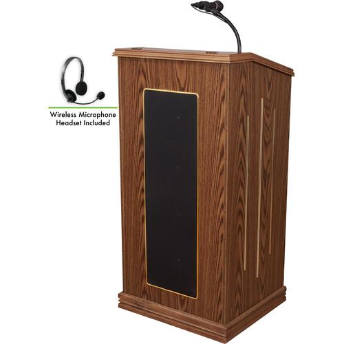 Oklahoma Sound 711 Prestige Lectern with LWM-7 Headset Wireless Microphone (Medium Oak)