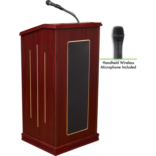 Oklahoma Sound Prestige Sound Lectern with Wireless Handheld Mic (Mahogany)