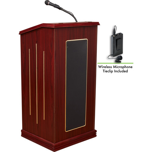 Oklahoma Sound 711-MY Prestige Floor Sound Lectern with LWM-6 Wireless Bodypack Microphone Transmitter and Lapel Mic (Mahogany)