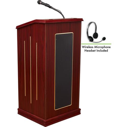 Oklahoma Sound 711 Prestige Lectern with LWM-7 Headset Wireless Microphone (Mahogany)