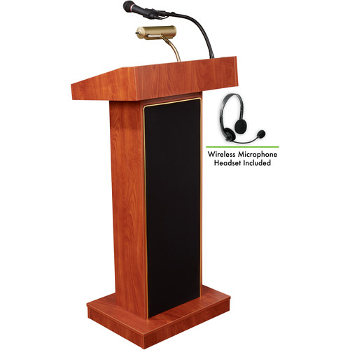 Oklahoma Sound 800X Orator Lectern with LMW-7 Headset Wireless Microphone (Cherry)