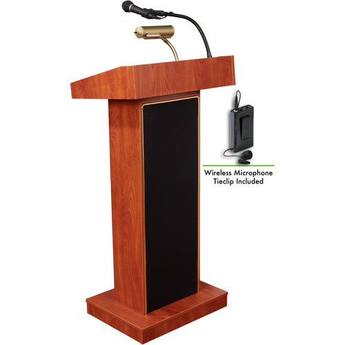Oklahoma Sound Orator Lectern with Sound System and Wireless Lavalier Microphone (Wild Cherry Laminate)