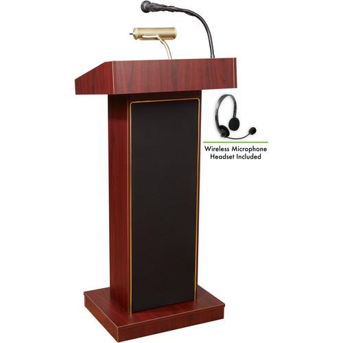 Oklahoma Sound 800X Orator Lectern with LMW-7 Headset Wireless Microphone (Mahogany)