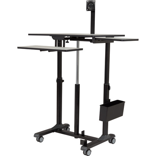 Oklahoma Sound EduTouch Pro Sit & Stand Cart with Desktop, Side Shelf, and Keyboard Tray