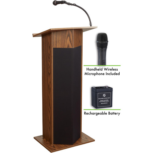 Oklahoma Sound The Power Plus Lectern with Rechargeable Battery & Wireless Handheld Mic (Medium Oak)