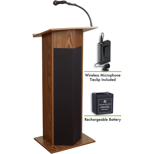 Oklahoma Sound The Power Plus Lectern with Battery & LWM-6 Tie Clip Lavalier Wireless Microphone (Medium Oak)