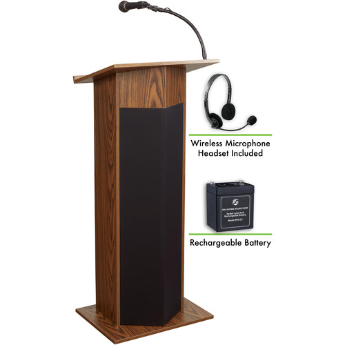 Oklahoma Sound The Power Plus Lectern with Rechargeable Battery & Wireless Headset Mic (Medium Oak)