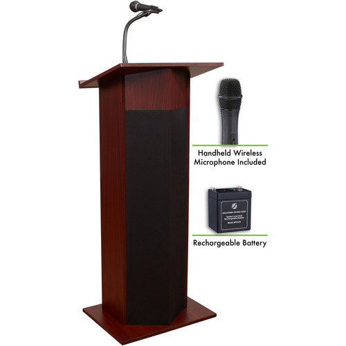 Oklahoma Sound The Power Plus Lectern with Battery & LWM-5 Handheld Wireless Microphone (Mahogany)
