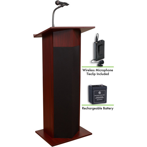 Oklahoma Sound The Power Plus Lectern with Rechargeable Battery & Wireless Tie Clip Lavalier Mic (Mahogany)