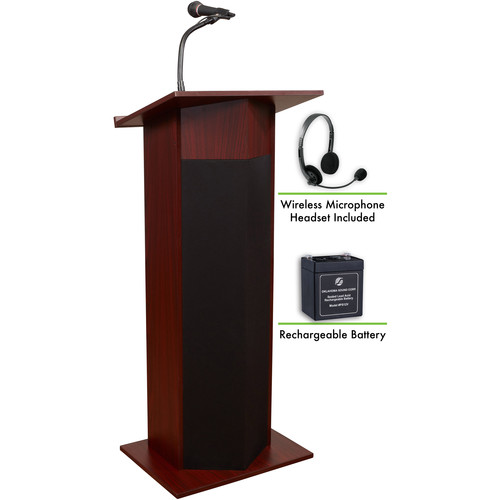 Oklahoma Sound The Power Plus Lectern with Rechargeable Battery & Wireless Headset Mic (Mahogany)