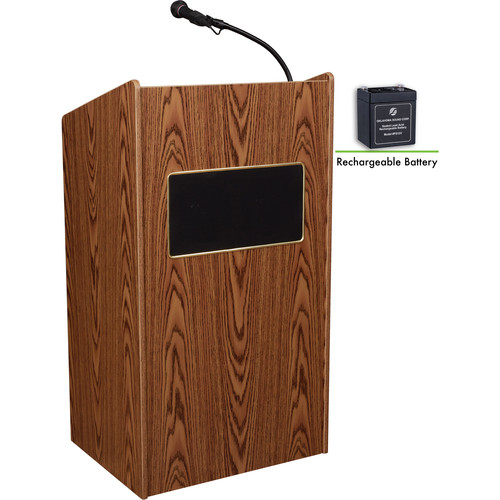 Oklahoma Sound Aristocrat Floor Lectern with Sound System and Rechargeable Battery (Medium Oak)