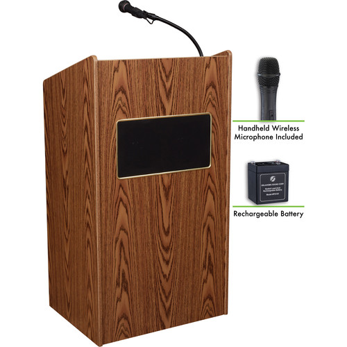 Oklahoma Sound The Aristocrat Sound Lectern with Battery & LWM-5 Handheld Wireless Microphone (Medium Oak)