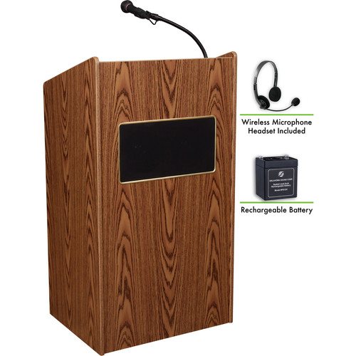 Oklahoma Sound The Aristocrat Sound Lectern with Rechargeable Battery & Wireless Headset Mic (Medium Oak)