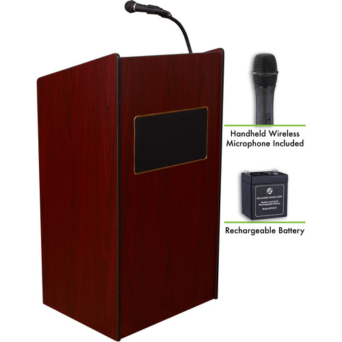 Oklahoma Sound The Aristocrat Sound Lectern with Battery & LWM-5 Handheld Wireless Microphone (Mahogany)