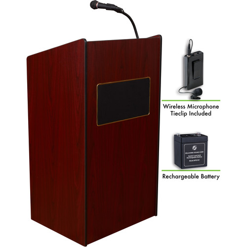 Oklahoma Sound The Aristocrat Sound Lectern with Rechargeable Battery & Wireless Tie Clip Lavalier Mic (Mahogany)