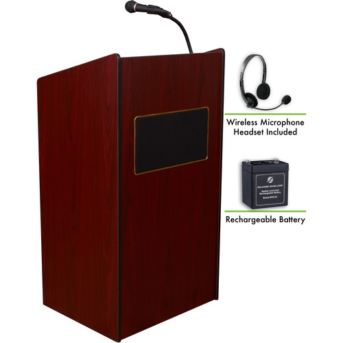 Oklahoma Sound The Aristocrat Sound Lectern with Rechargeable Battery & Wireless Headset Mic (Mahogany)