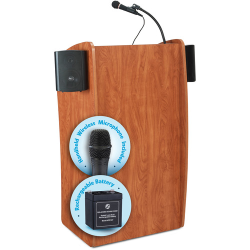 Oklahoma Sound The Vision Lectern with Sound, Rechargeable Battery & Handheld Wireless Mic (Cherry)