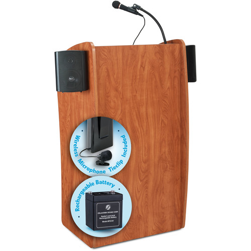 Oklahoma Sound The Vision Lectern with Sound, Rechargeable Battery & Tie Clip Lavalier Wireless Mic (Cherry)