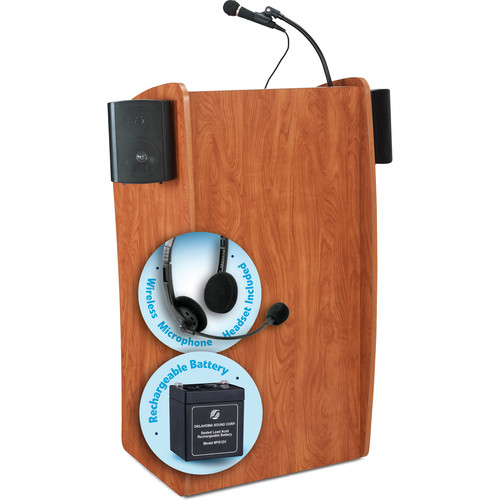 Oklahoma Sound The Vision Lectern with Sound, Rechargeable Battery & Headset Wireless Mic (Cherry)