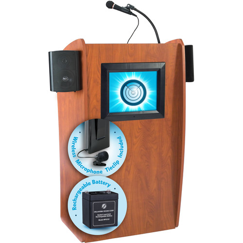 Oklahoma Sound The Vision Lectern with Sound, Screen, Rechargeable Battery & Tie Clip Lavalier Wireless Mic (Cherry)