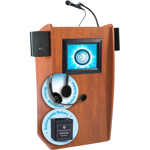 Oklahoma Sound The Vision Lectern with Sound, Screen, Rechargeable Battery & Wireless Headset Mic (Cherry)