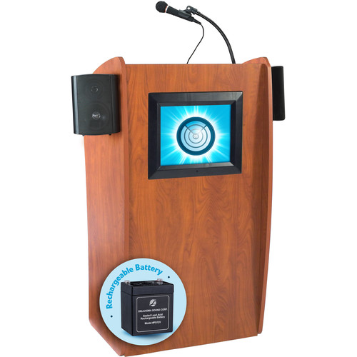 Oklahoma Sound The Vision Floor Lectern with Speakers, Display & Rechargeable Battery (Cherry)