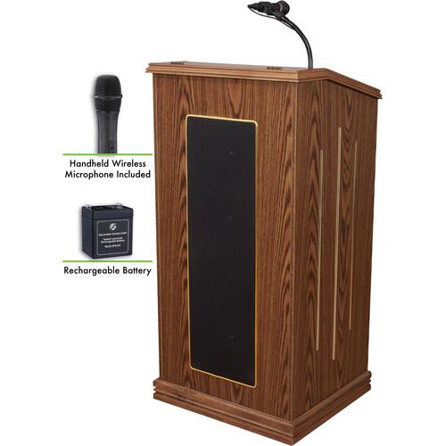 Oklahoma Sound Prestige Sound Lectern with Battery & LWM-5 Handheld Wireless Microphone (Medium Oak)