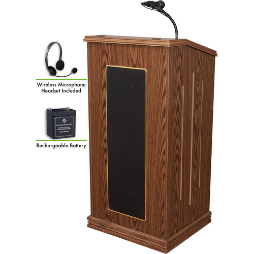Oklahoma Sound Prestige Sound Lectern with Rechargeable Battery & Wireless Headset Mic (Medium Oak)