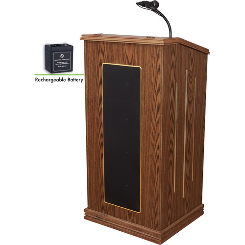 Oklahoma Sound Prestige Lectern And Rechargeable Battery (Medium Oak)