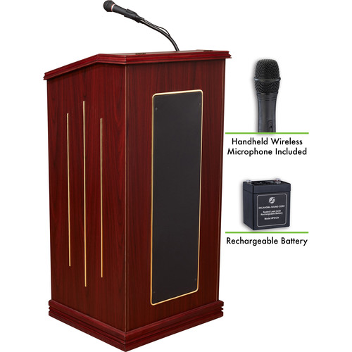 Oklahoma Sound Prestige Sound Lectern with Rechargeable Battery & Wireless Handheld Mic (Mahogany)
