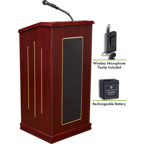 Oklahoma Sound Prestige Sound Lectern with Rechargeable Battery & Wireless Tie Clip Lavalier Mic (Mahogany)