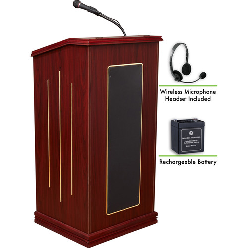 Oklahoma Sound Prestige Sound Lectern with Rechargeable Battery & Wireless Headset Mic (Mahogany)