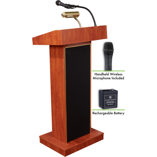 Oklahoma Sound The Orator Lectern with Rechargeable Battery & Handheld Wireless Mic (Cherry)