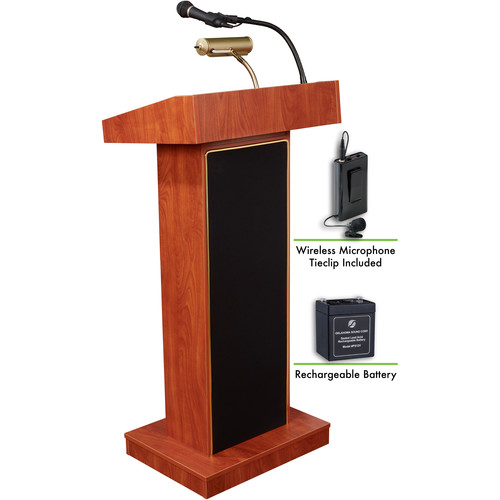 Oklahoma Sound The Orator Lectern with Rechargeable Battery & Tie Clip Wireless Lavalier Mic (Cherry)