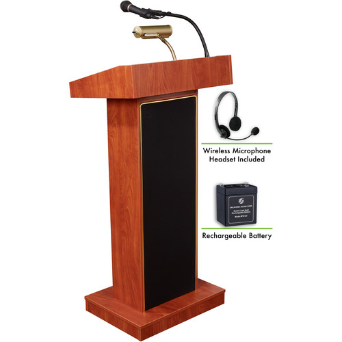 Oklahoma Sound The Orator Lectern with Rechargeable Battery & Wireless Headset Mic (Cherry)