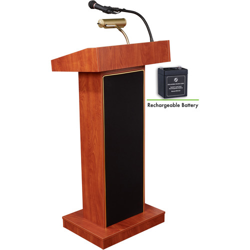 Oklahoma Sound M800X-CH Orator Lectern with Sound System & Rechargeable Battery (Wild Cherry Laminate)