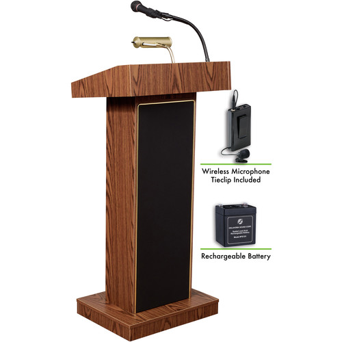 Oklahoma Sound The Orator Lectern with Rechargeable Battery & Tie Clip Wireless Lavalier Mic (Medium Oak)