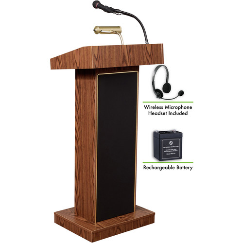 Oklahoma Sound The Orator Lectern with Rechargeable Battery & LWM-7 Headset Wireless Microphone (Medium Oak)