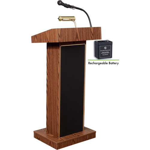Oklahoma Sound Orator Lectern And Rechargeable Battery(Medium Oak)