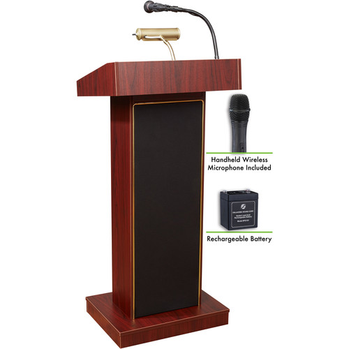 Oklahoma Sound The Orator Lectern with Rechargeable Battery & Handheld Wireless Mic (Mahogany)