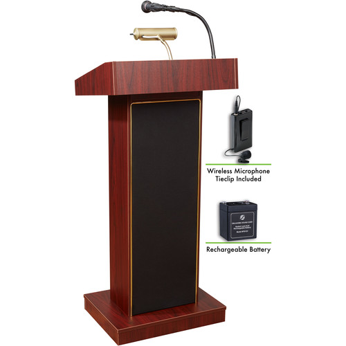 Oklahoma Sound The Orator Lectern with Rechargeable Battery & Tie Clip Wireless Lavalier Mic (Mahogany)